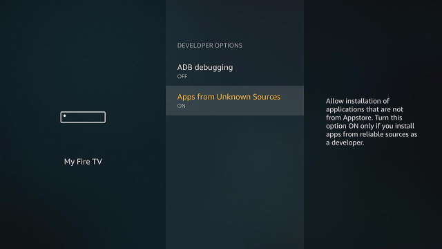 Fire TV Apps From Unknown Sources Setting