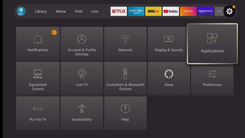 FireTV Settings Applications Option