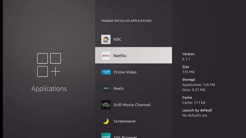 Netflix App Selection in FireTV Settings