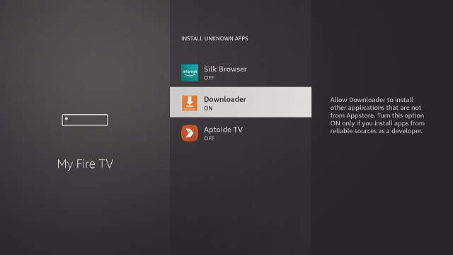 Fire TV Set Downloader Set Install Unknown Apps to On