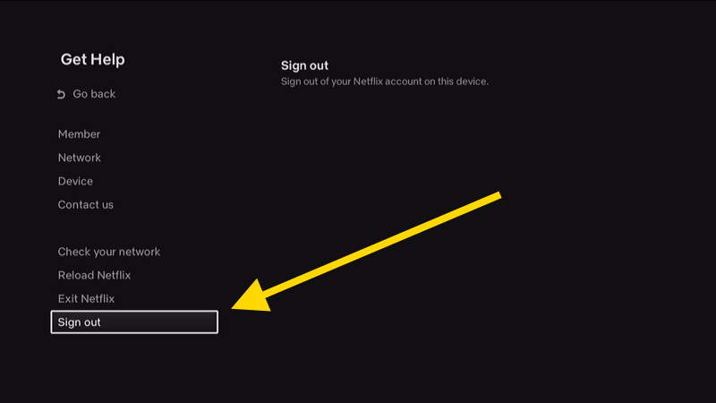 Netflix Location of Sign out