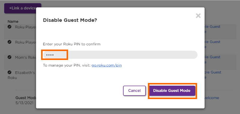 Roku Website PIN to Disable Guest Mode